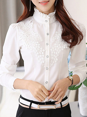 Band Collar Elegant Lace Long Sleeve Blouse, 10681798