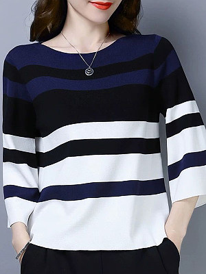 Round Neck Striped Bell Sleeve Knit Pullover, 11122530