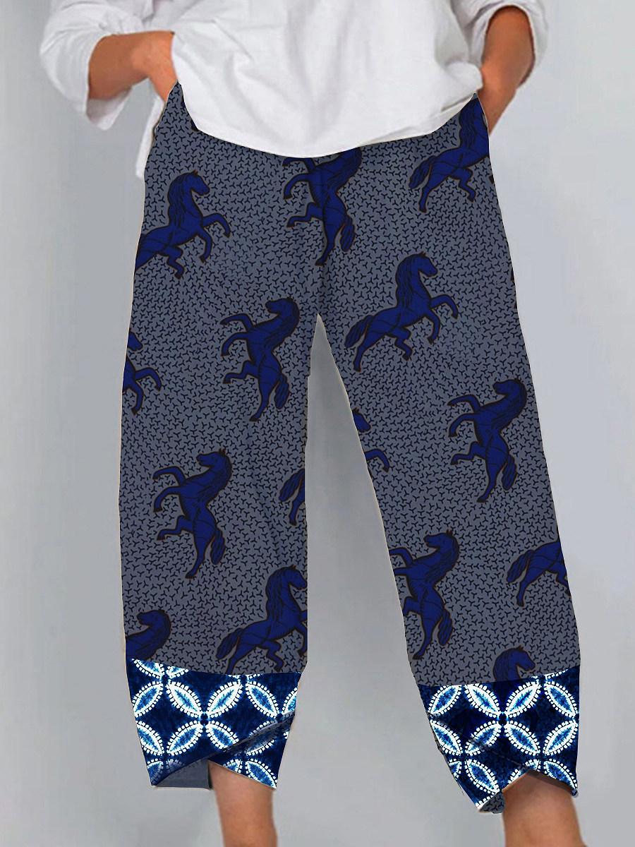 BerryLook Fashion printed casual split wide-leg pants