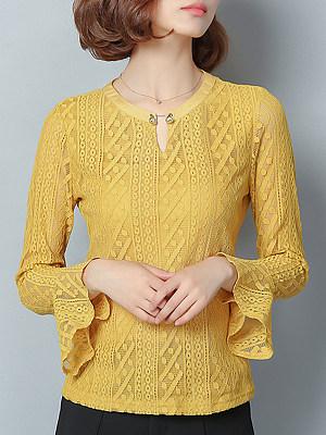 Round Neck Elegant Lace Long Sleeve T-Shirt, 10776672