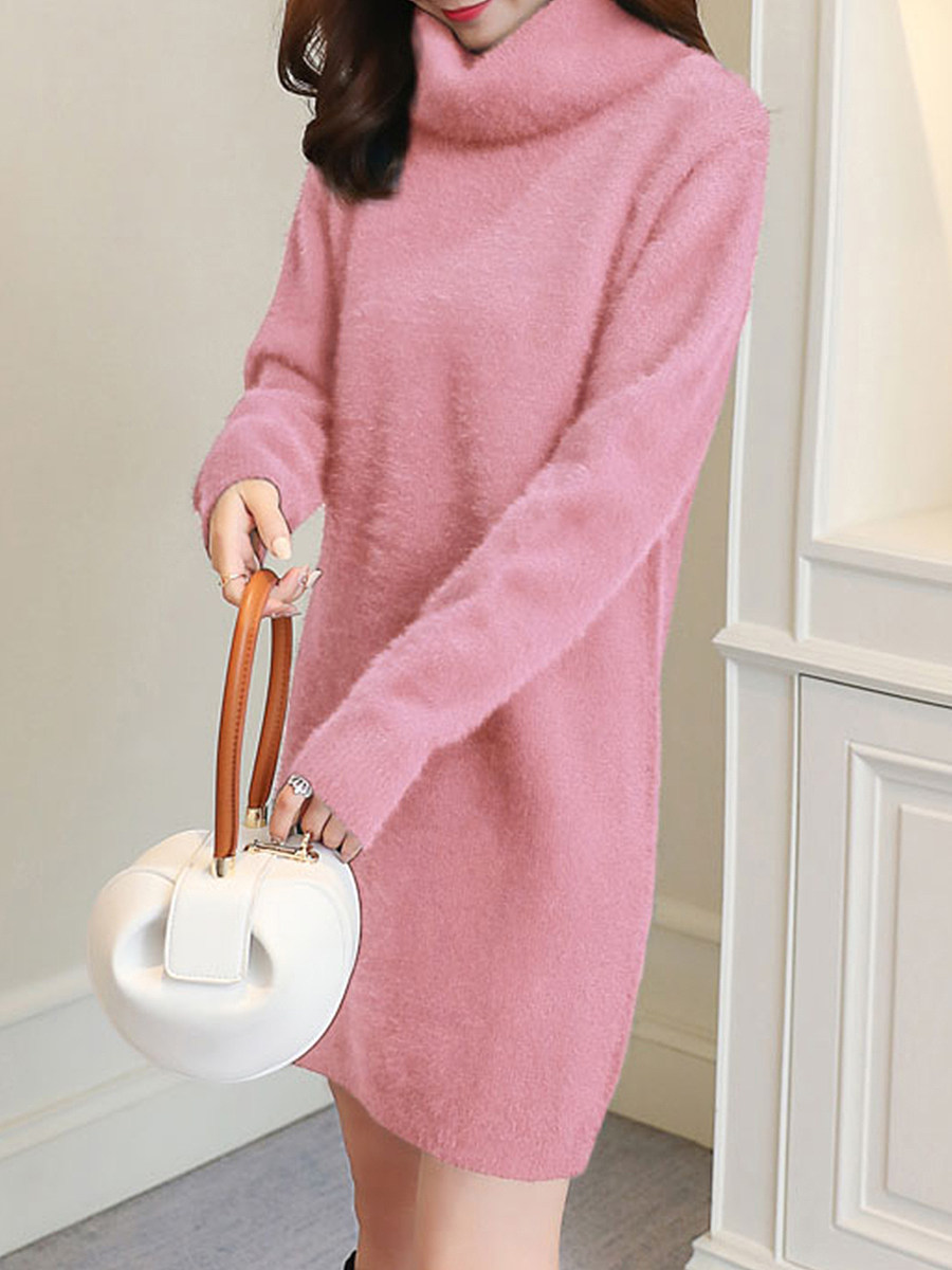 Loose long sleeve solid color thick high collar knit dress - from $19.95