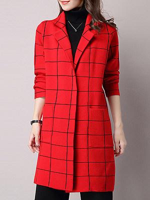 Women's Fashion Plaid Woolen Coat