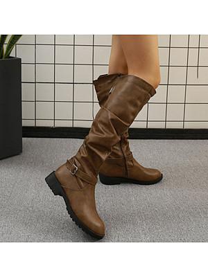 Fashion ladies belt buckle side zipper high boots, 10681551