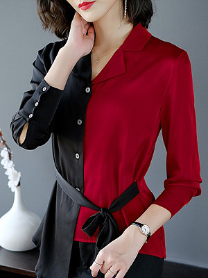 Turn Down collar Patchwork Color Block Long Sleeve Blouse, 10713282