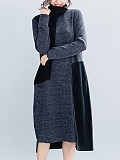 Image of Colorblock Long Sleeve High Neck Knit Dress