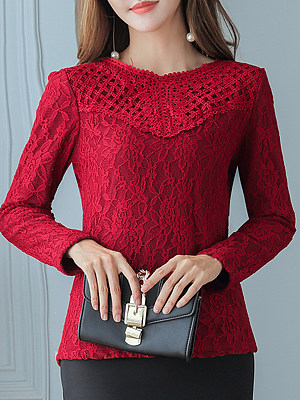 Band Collar Elegant Lace Long Sleeve Blouse, 10737093