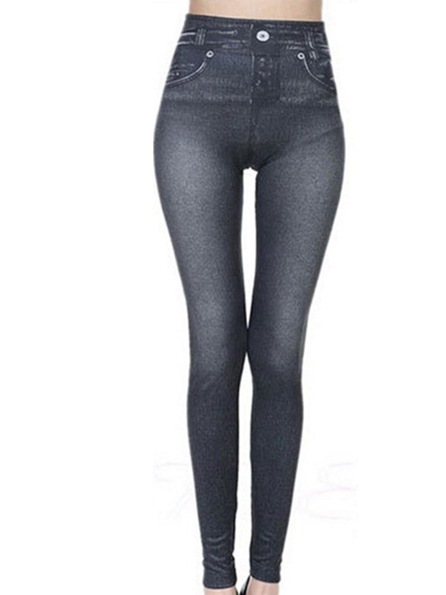 BerryLook Fall/winter stretch plus size imitation denim plus velvet leggings