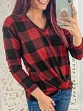 Image of V Neck Plaid Long Sleeve T-shirt