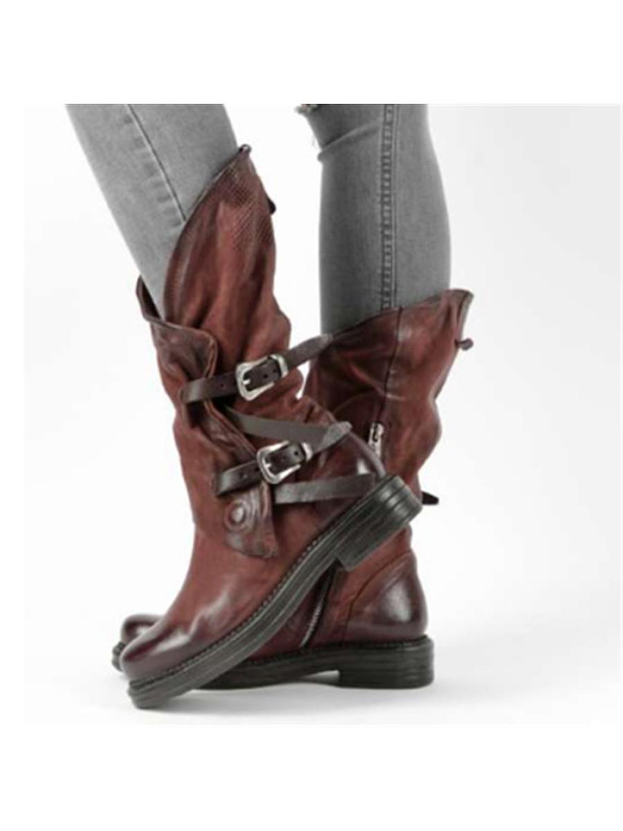 BerryLook Women's Casual Low Heel Belt Buckle Mid Boots