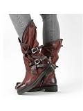 Women's Casual Low Heel Belt Buckle Mid Boots