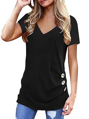 V Neck Plain Buttons Short Sleeve T-shirt, 24598366