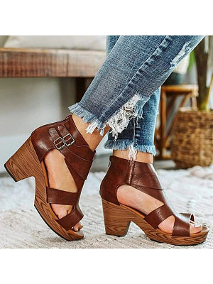 Women's solid color wild open-toe fish mouth Roman shoes, 23952513