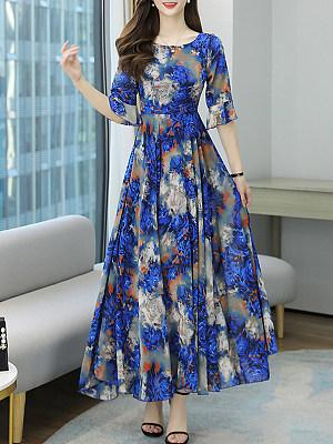 Berrylook Summer Retro Print Holiday Beach Dress online, online shopping sites, Printing Maxi Dresses, halter dress, floral dresses