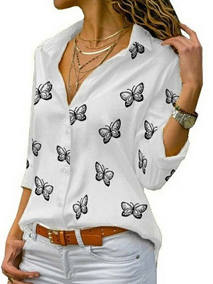 Buy Blouses online, online shopping sites from Berrylook Apparel & Accessories>Clothing>Shirts & Tops, Berrylook Turn Down Collar Butterfly Print Long Sleeve Blouse is well made of Polyester and it\\\'s features are: bust:112,length:70 (in inches). Find best silk blouse, womens shirts at Berrylook.com