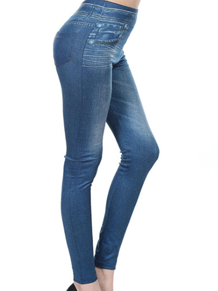 BerryLook Fashion imitation denim printed stretch leggings slim cropped pants