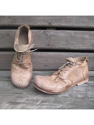 Vintage Hollow Low Heel Round Toe Men's Shoes, 10800574