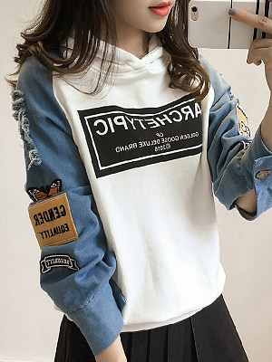 Fashion Patchwork Hooded Sweatshirt фото