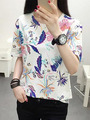 Round Neck Floral Short Sleeve T-shirt, 11557010