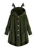 Image of Antlers Hooded Button Plush Top Irregular Jacket