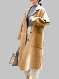 Image of Women's woolen coat mid-length over-the-knee woolen coat