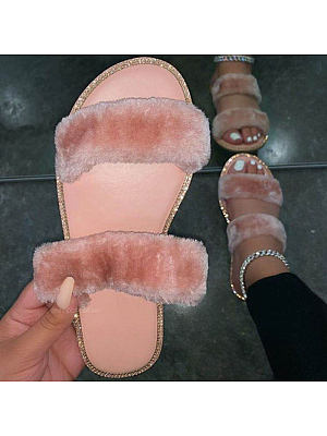 Leisure plush warm slippers, 25327619