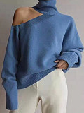 Image of Cold Collar Plain Fashion Long Sleeve Knit Pullover