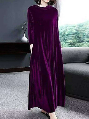 Round Neck Plain Maxi Dress фото