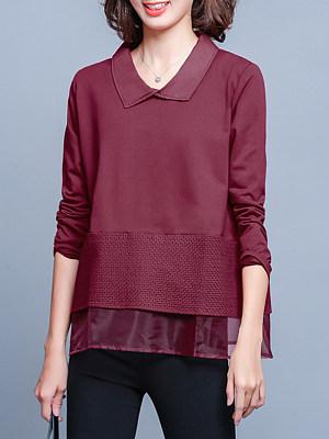 Turn Down Collar Elegant Patchwork Long Sleeve Blouse, 10642087