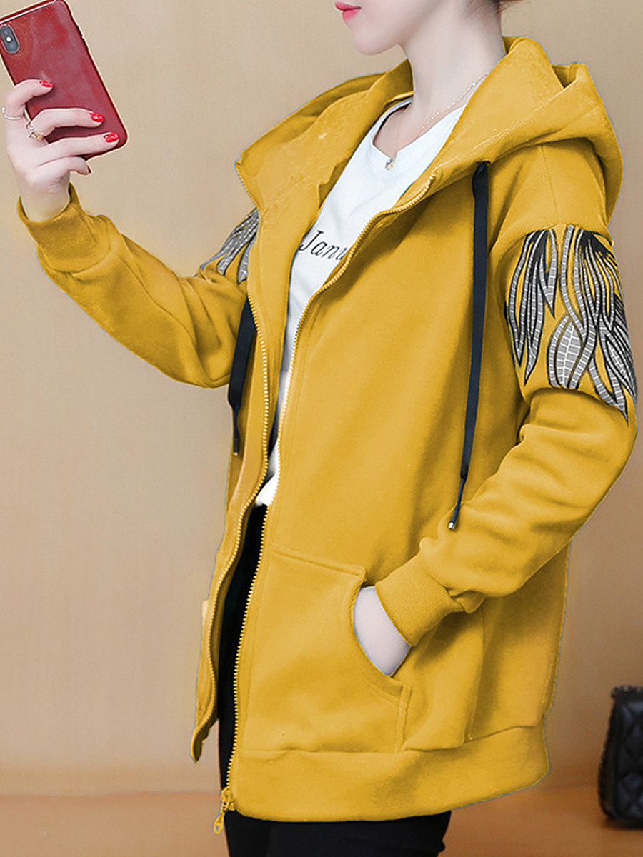 Casual long-sleeved printed zipper hooded overcoat - from $29.95