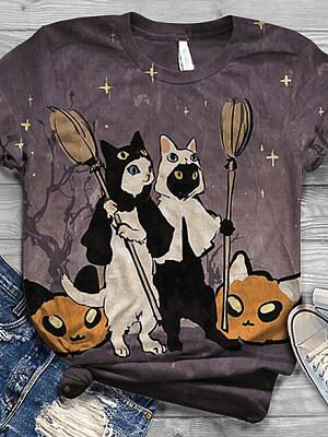 Halloween Round Neck Cat Short Sleeve T-shirt, 25299013