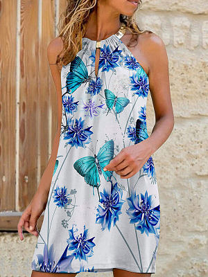 Berrylook Round Neck Sleeveless Butterfly Print Shift Dress shop, shoping, black long sleeve shift dress, floral shift dress