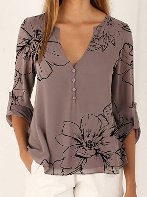 V Neck Print Long Sleeve Blouse, 24527434