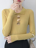 Turn Down Collar Elegant Long Sleeve Knit Pullover