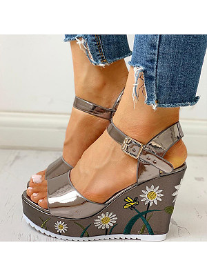 Women's fashion comfortable embroidered wedge sandals, 23978958