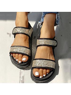 Flat Roman Sequin Trifle Platform Sandals
