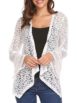 See-Through Floral Plain Bell Sleeve Cardigan, 11240318
