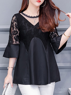 Round Neck Patchwork Lace Half Sleeve Blouse, 11291816