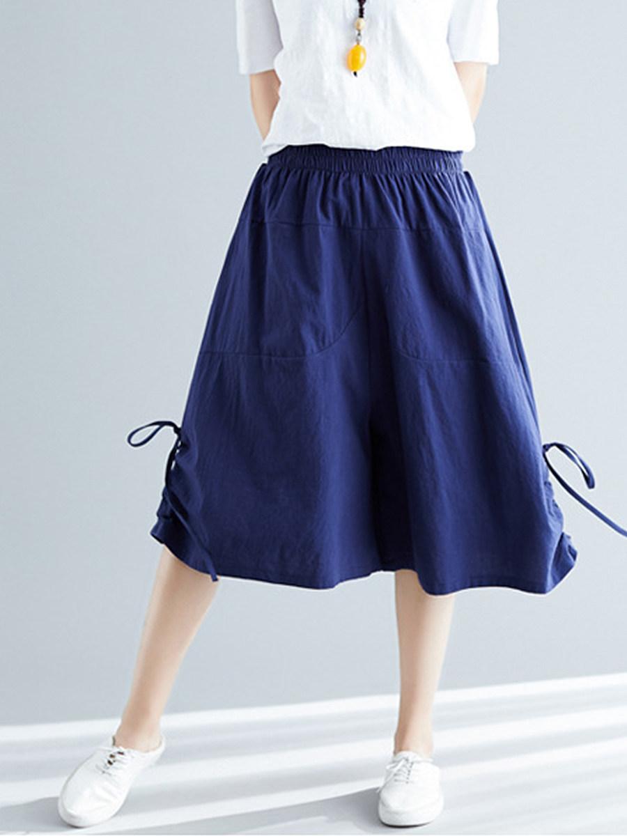 BerryLook Fashionable loose cotton and linen drawstring wide-leg pants