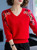 Image of V-neck Embroidered Knitted Long-Sleeved Pullover