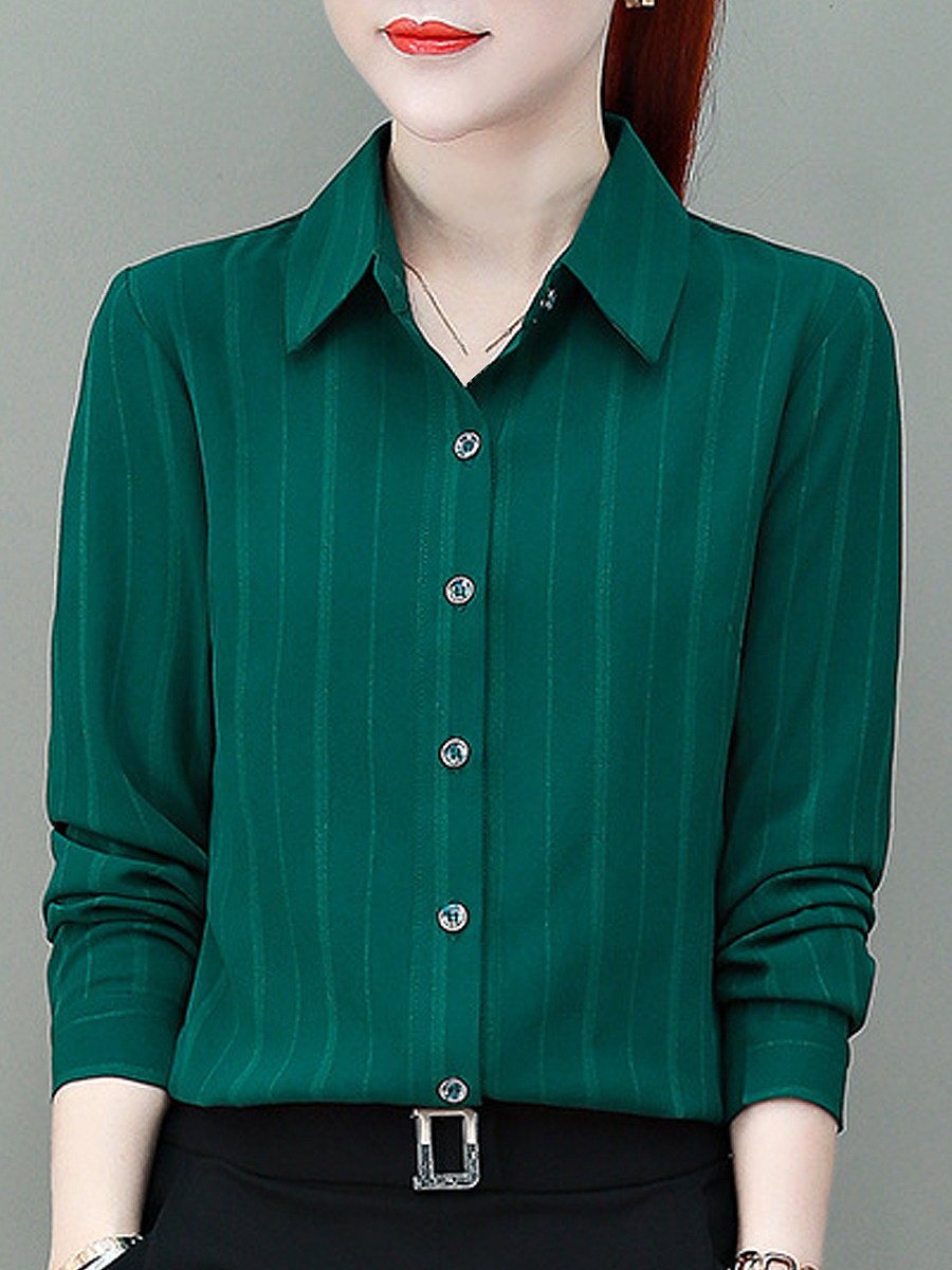 Fashion stripe lapel long-sleeved chiffon blouse - from $22.95