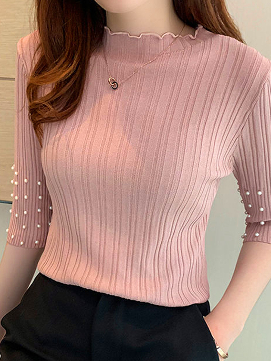 Five-Point Sleeve Beaded Ice Silk Knitted Pullover