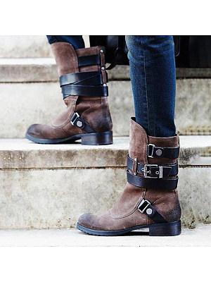 berrylook Women's thick heel belt buckle suede mid boots