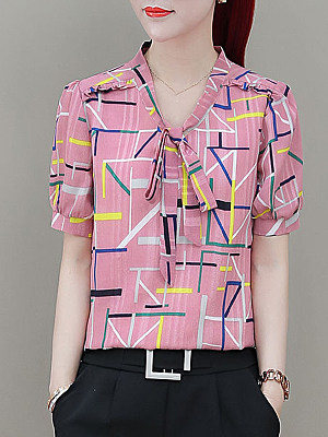 V Neck Bow Printed Short Sleeve blouse, 11415466