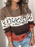 Image of Fashionable round neck leopard print long-sleeved sweater