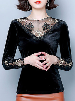 Round Neck Elegant Patchwork Long Sleeve T-Shirt, 10650571
