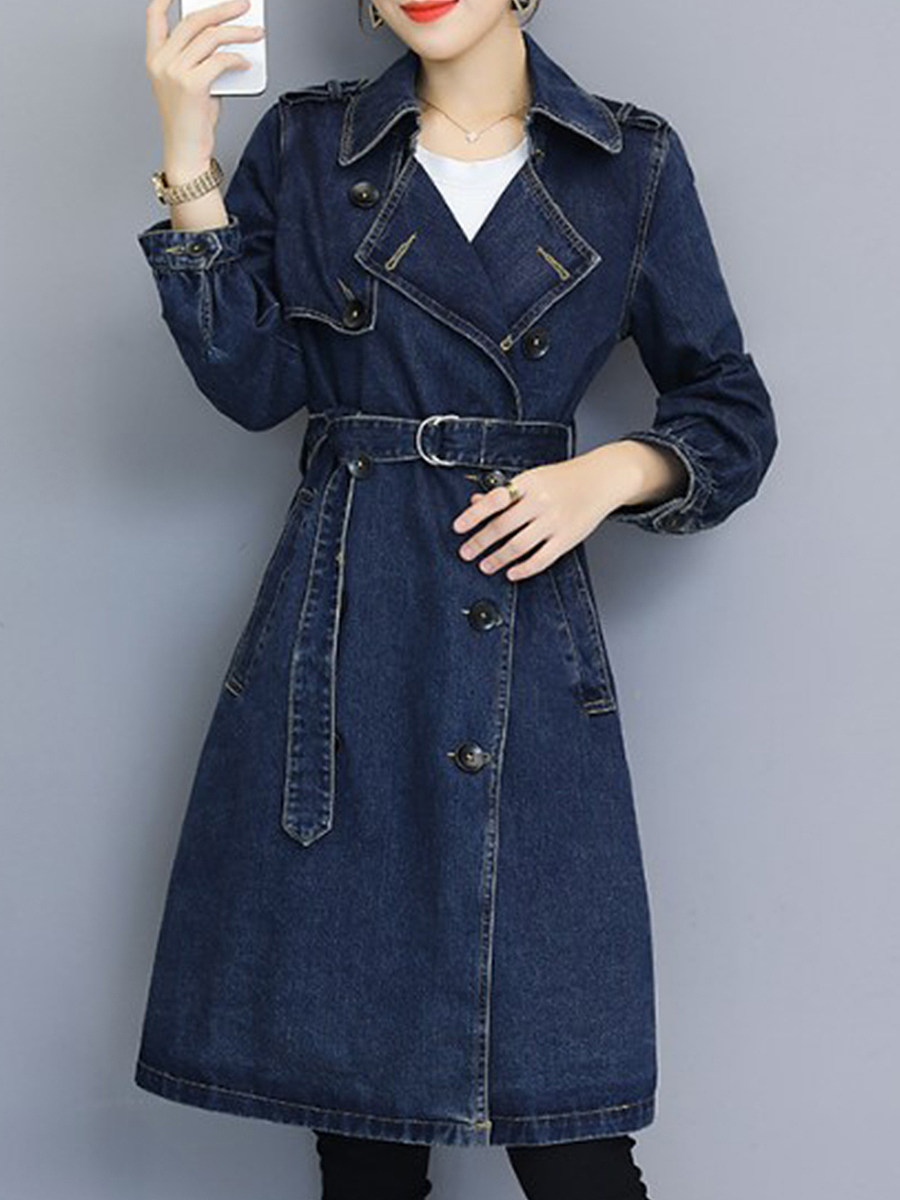 Ladies Fashion Lapel Stitching Blue Denim Jacket - from $30.95