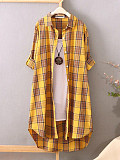 Image of Turn Down Collar Plaid Long Sleeve Blouse