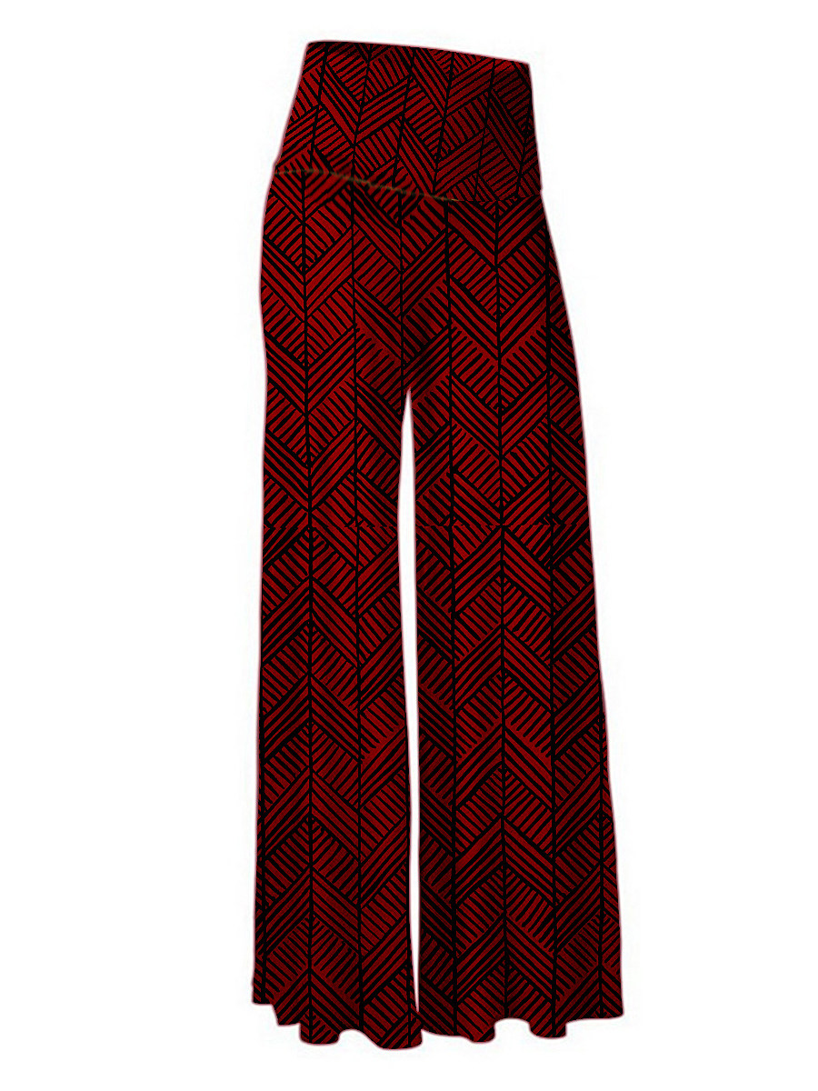 Casual high waist printed trousers