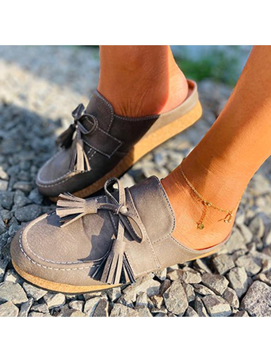 BerryLook Women's thick bottom comfortable tassel flat slippers