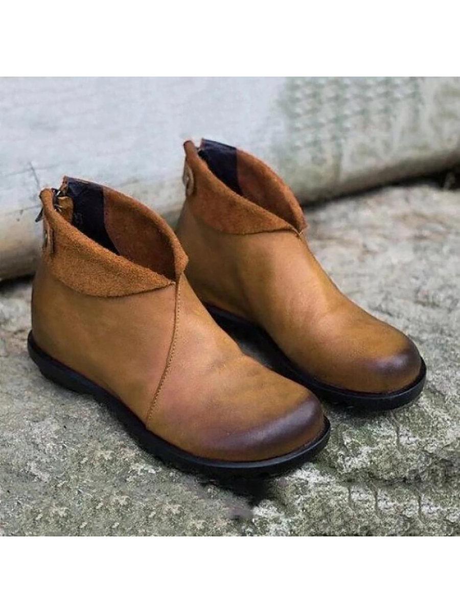 BerryLook Women's Comfortable Low Heel Casual Boots